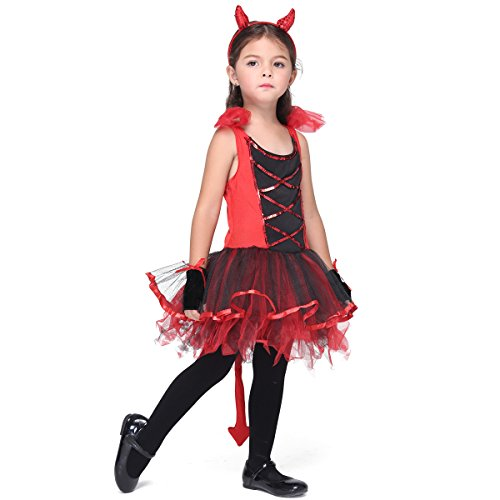 [Halloween Dress Up Little Devil Costumes Role Play Girls Set (XL)] (Sexy Devil Costumes Ideas)