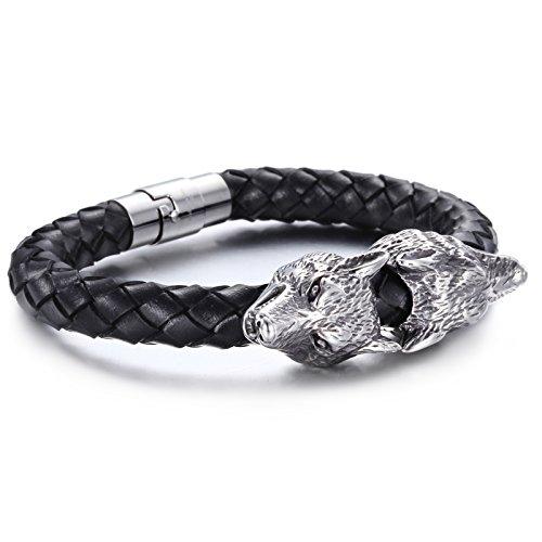 YSM cinturino in pelle intrecciata 215 millimetri in acciaio inox a doppia testa del lupo 16 millimetri Larghezza braccialetto elegante Man (Argento + Nero)