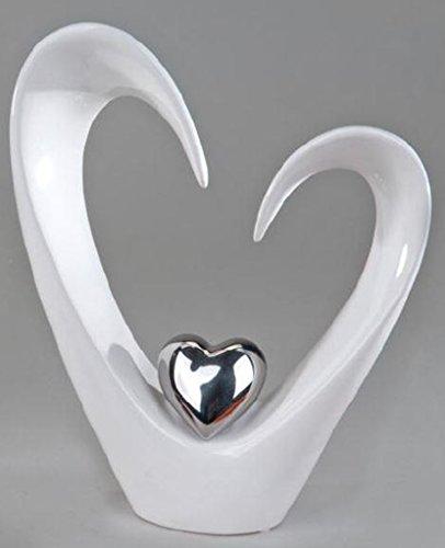 Moderne sculpture décorative de coeur en céramique blanc / argent Hauteur 25 cm
