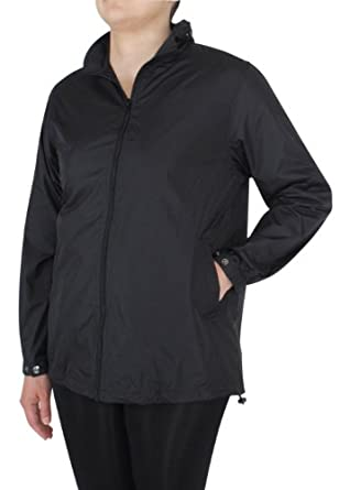 Capelli New York Ladies Solid Packable Raincoat With Pouch Jet Black