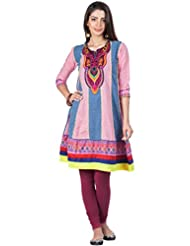 Zovi Women's Cotton Pink And Blue Printed Kurti With Embroidered Neck Patch (10647805701)