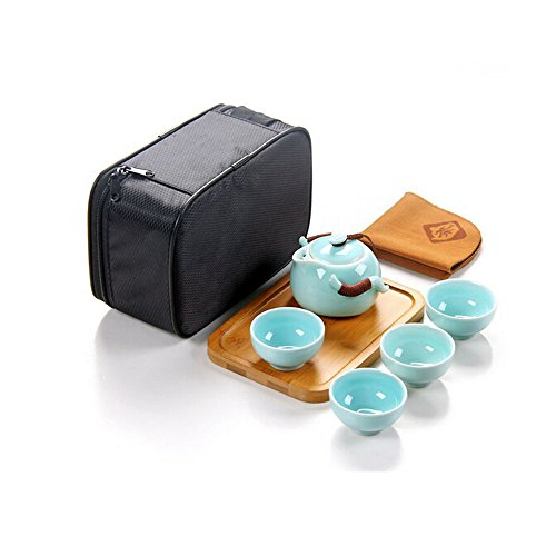 DecentGadget 180ml Travel Tea Set - Porcelain Teapot, 4 Teacups, Bamboo Tea Tray, Tea Mat and Portable Travel Tea Bag (Bamboo Tea Service compare prices)