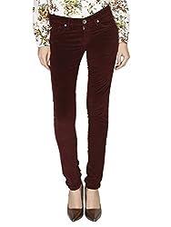 LJ216 LESLEY WOMENS SKINNY COTTON LYCRA Jeans - Maroon