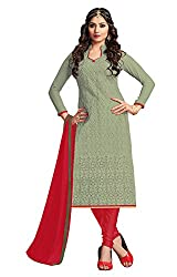 Jiya Presents Embroidered GPU,Georgette Dress Material (Light Olive,Red)