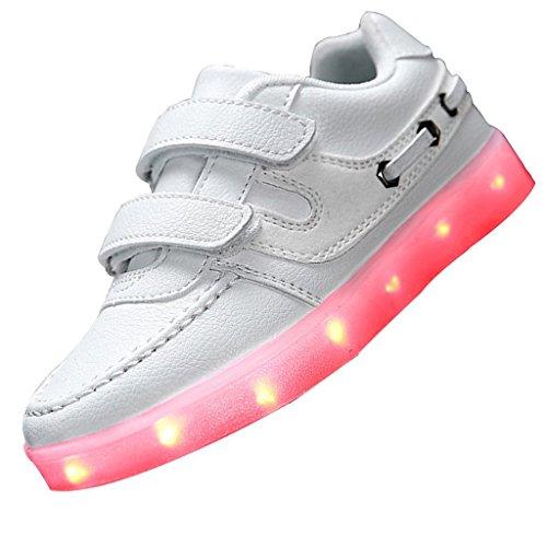 Bianco EU 34, scarpe bambino Glow LED tennis da JUNGLEST® Boy Little ricarica USB di della ragazza del correnti pattini Up maniera lampeggiante Light casuali