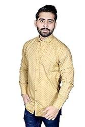 Strak Men's Cotton Polka Print Party Shirt (BB987231_40_Medium_Gold)