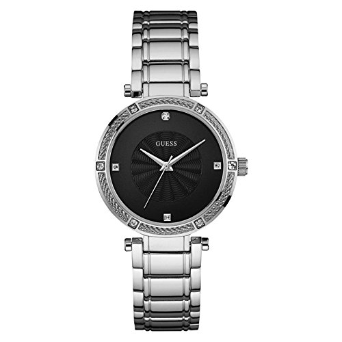 GUESS Silver-Tone Modern Classic Watch with Diamonds (Guess Analog Silver Dial compare prices)