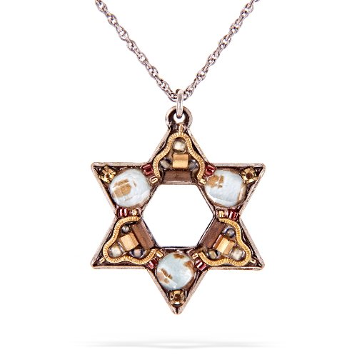 Ayala Bar Star of David Judaic Necklace - The Classic Collection - in Shades of Antique Gold, Russet Red and Seafoam Green #5167G ANK ONK