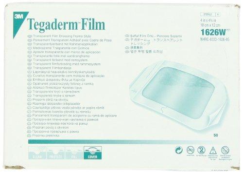 "3M Tegaderm Transparent Dressing With Label 4"" X 4 3/4"" (10 X 12 Cm)50 Per Box #1626W front-22172"