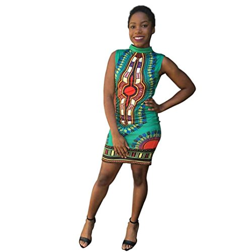 Gillberry Women Sleeveless African Print Package Hip Cheongsam Tops Casual Dress (L, Green) (Womens Clothing Package compare prices)