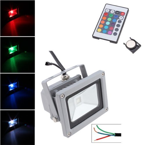 10W Rgb Color Changing Led Flood Light 100~240V Outdoor 900Lm With Remote Control