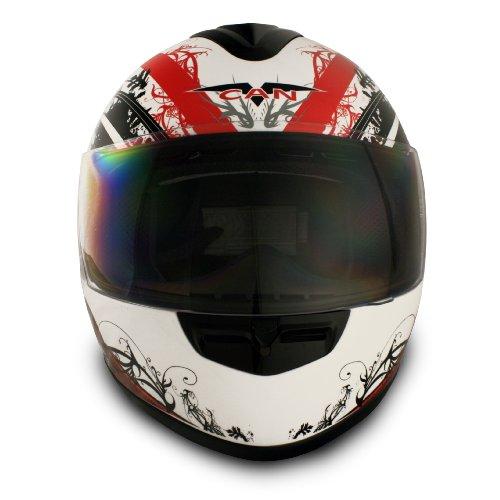 VCAN V136 Full-Face Helmet (Red, X-Large)