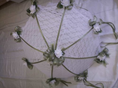 """Decorated Bridal Shower Wedding White Lace Umbrella Parasol 32"""" Sage Green Trim And White Roses front-880601"""