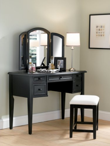 Black Wood Vanity Mirror and Bench Set