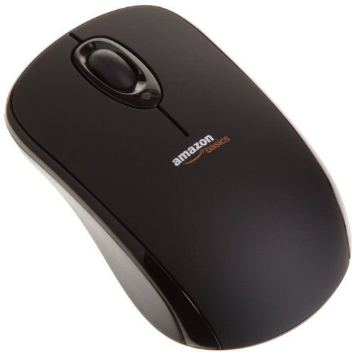 AmazonBasics Wireless Mouse with Nano Receiver (Black)