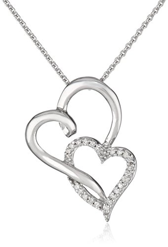 "Sterling Silver Diamond Double Open Heart Pendant Necklace (1/10 cttw, I-J Color, I2-I3 Clarity), 18"": Jewelry"