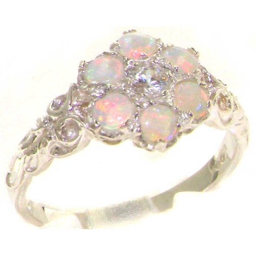 Solid 9K White Gold Womens Opal & Diamond Band Ring - Size 11.25 - Finger Sizes 4 To 12 Available - Suitable As An Anniversary Ring, Engagement Ring, Eternity Ring, Or Promise Ring