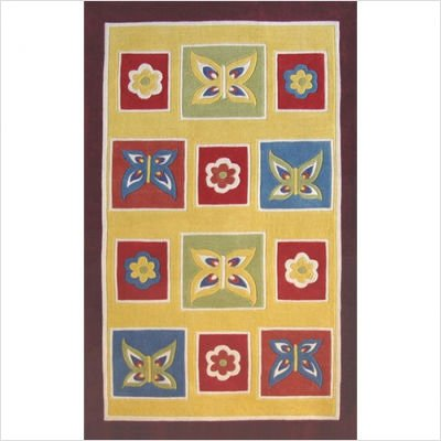 "Kiddie AT050 Yellow / Purple Butterfly Kids Rug Size: 3'6"" x 5'6"""