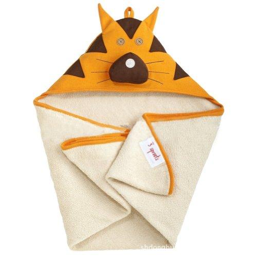 Deer Mum Baby'S Cartoon Hooded Bath Towel Microfiber Bathrobe Infant Animal Design Beach Towel (Orange Lion) front-781141