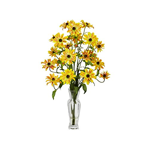 Nearly Natural Cosmos with Vase Silk Flower Arrangement Yellow