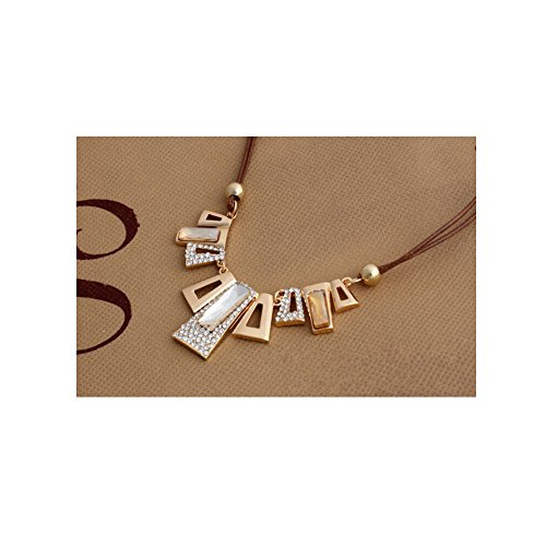 Geometric Square Pendant Alloy Clothes Hanging Diamond Necklace Sweater Chain Short Paragraph