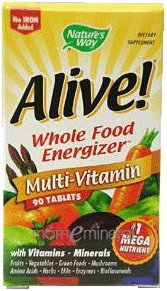 Alive!, Whole Food Energizer, Multi-Vitamin, No Iron Added, 90 Tablets by Nature's Way
