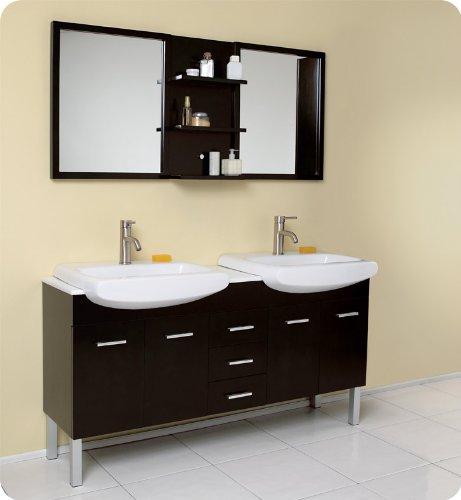 Fresca Vetta Double Sink Modern Bathroom Vanity w/Espresso Finish