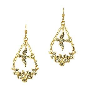 Catherine Popesco 14k Gold Plated Swarovski Crystal Bird Dangle Swag Earrings