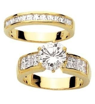 Simply Glamorous Jewellery And Gifts Shop - 18ct Yellow Gold Filled Bridal Set Rings With 2.04ct Simulated Diamond