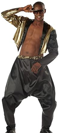 California Costumes Men's Old School Rapper Costume, Black/Gold, Small/Medium