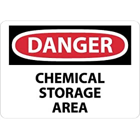 "NMC D239R OSHA Sign, Legend ""DANGER - CHEMICAL STORAGE AREA"", 10"" Length x 7"" Height, Rigid Plastic, Red/Black on White"