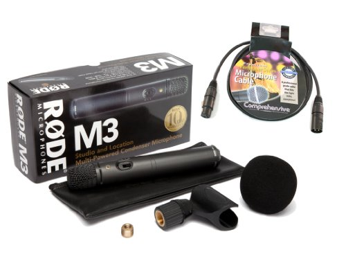 Rode M3 Versatile multi-powered condenser microphone & Comprehensive XLR Mic Cable 15'