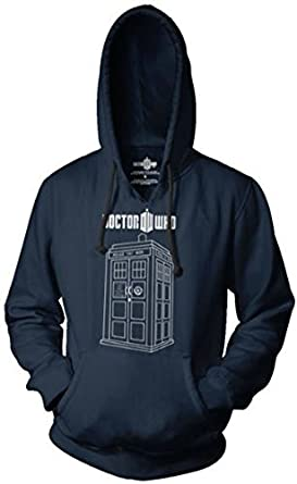 Dr. Doctor Who Police Box Booth Linear Tardis Adult Navy Hooded Sweatshirt (Adult XX-Large)