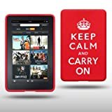 "AMAZON KINDLE FIRE TABLET KEEP CALM & CARRY ON SILIKON SKIN CASE SCHUTZH�LLE IN ROT/WEI�von ""CELLAPOD"""