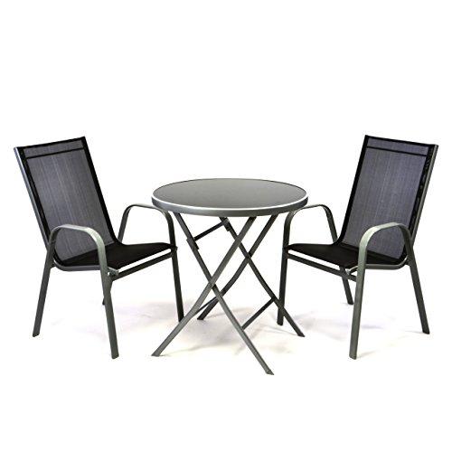 Gartengarnitur-3er-Bistroset-mit-2-schwarzen-Stapelsthlen-stapelbar-1-runden-Klapptisch-Glastisch-klappbar-DM-70-cm