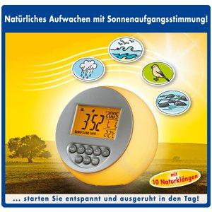 Welness Wecker mit Naturklängen und Sunrise Touch-Funktion - Das sanfte Aufwach-Erlebnis wie beim Sonnenaufgang in der Natur