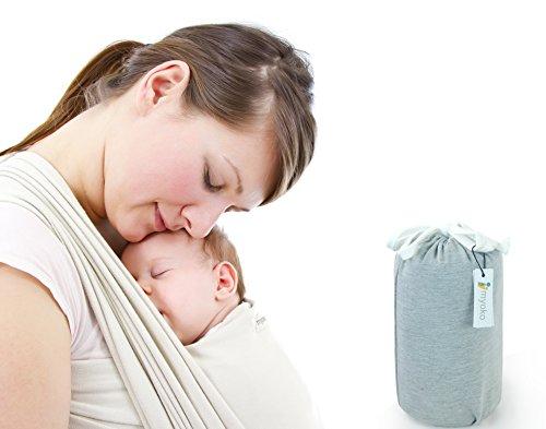 MYOKO Babytragetuch ● weich, angenehm, stabil ● 510 cm lang ● 100% Baumwolle ● Baby Carrier Wrap Sling ● Tragetuch Baby (hellgrau)