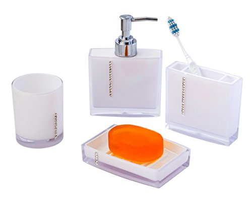 JustNile 4 Piece Bathroom Accessory Set Jewel Series Opaque White Home Gard