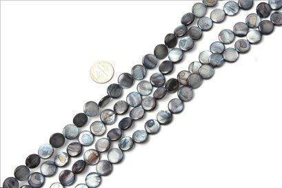 11mm coin gemstone dark-blue Sea shell beads strand 15
