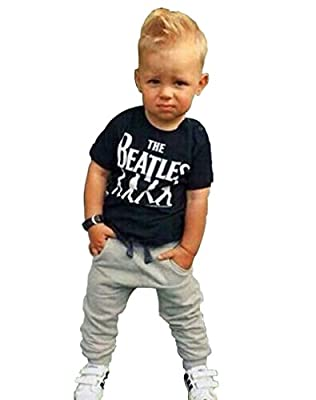 2pcs Kids Baby Boys Cotton T shirt + Pants Set Outfits Clothing