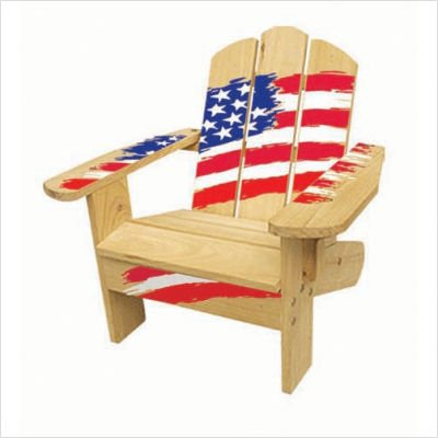 Kids Adirondack Chair in Natural Stars and Stripes