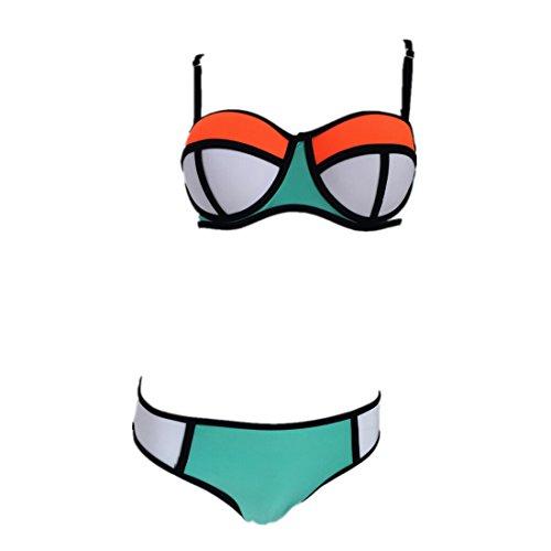 Frauen Neopren Helle Tauchanzug Push Up Bikini Set Badeanzug-Badebekleidung