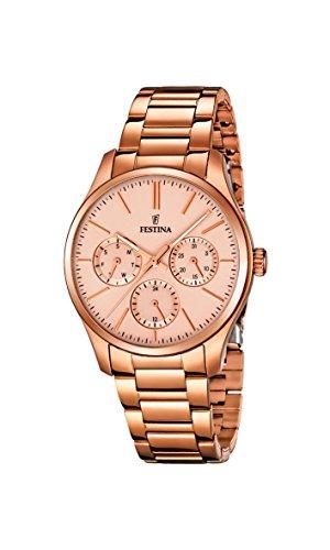 Festina-Damen-Armbanduhr-Analog-Quarz-Edelstahl-beschichtet-F168162