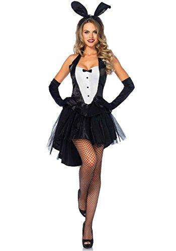 [McDonalnd chic Women's 3 Piece Tux and Tails Bunny Tuxedo Costume Black/WhiteSmall / Medium] (Bunny Dress Tux Tails Adult Costumes)
