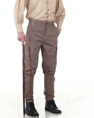 Steampunk Victorian Costume Airship Pants Trousers -Checkered