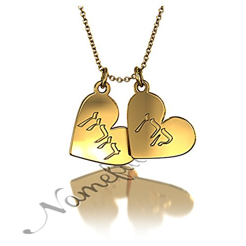 """Hebrew Couple Name Necklace With Hearts In 18K Yellow Gold Plated Silver - """"Keren Loves Doron"""" - 16"""" Chain (Young Adult) front-218175"""