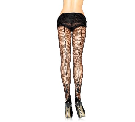Backseam fishnet pantyhose with tassel bow detail