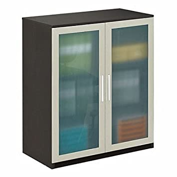 Storage Cabinet with Glass Doors, Espresso Wenge/Frosted Glass Doors - At Work Collection