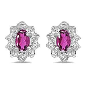 Diamond and 5 x 3 MM Oval Shaped Pink Topaz Earrings in 14K White Gold (0.01 cttw)