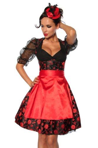 Edles Dirndl schwarz-rot Kleid 4-teilig Oktoberfest Karneval Mottoparty, Größe:L